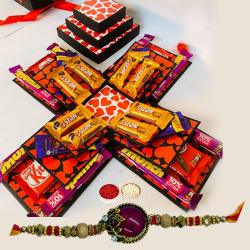 Classic Red Stone Rakhi with 3 Layer Chocolate Explosion Box
