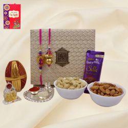 Trendy Bhaiya Bhabhi Rakhi with Pooja Items, Dry Fruits n Cadbury Silk