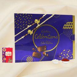 Attractive Dholk Ganesh Rakhi Pair with Cadbury Celebration