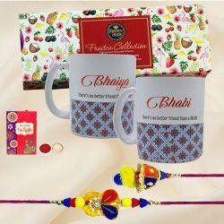 Classy Fruitea Hamper with Personalized Couple Mug N Bhaiya Bhabhi Rakhi