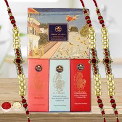 Mystical India Tea Hamper with 3 Golden Bracelet Rakhi