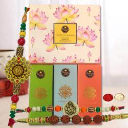 Auspicious Set of 3 Rakhi with Ancient Healing Tea Hamper
