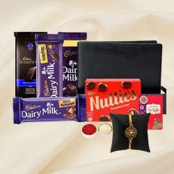 Cool Golden Rakhi with Mens Leather Wallet n Cadbury Chocolates