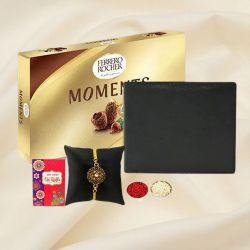 Trendy Gold Plated Rakhi with Black Leather Wallet n Ferrero Rocher