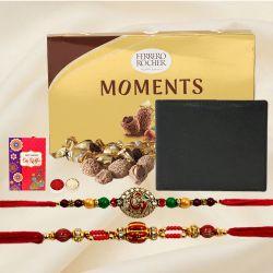 Ethnic Zardosi Rakhi Pair with Black Leather Wallet n Ferrero Rocher