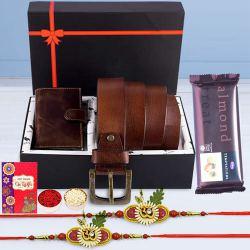 Pious OM Rakhi Pair with Card Holder, Belt, KN95 Mask N Cadbury Temptation