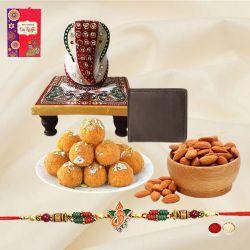Fancy Ganesh Rakhi with Wallet, Ganesh Marble Chowki, Sweets N Almonds