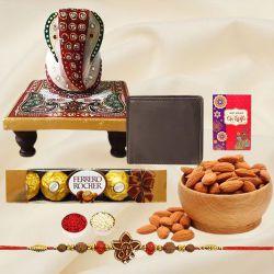 Fancy Ganesh Rakhi with Wallet, Marble Chowki, Almond N Ferrero Rocher
