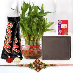 Holy Zardosi Rakhi with Leather Wallet, Bamboo Plant n Mars Chocolate