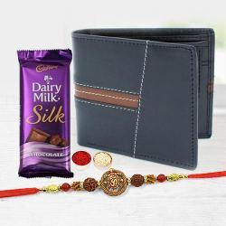 Fancy OM-Rudraksha Tortoise Rakhi with Leather Wallet N Cadbury Silk