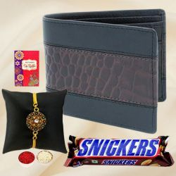 Elegant Gold Plated Rakhi with Gents Wallet N Snicker Chocolate