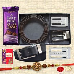 Trendy OM-Rudraksha Tortoise Rakhi with Belt N Buckle Set and Cadbury Silk
