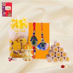 Designer Bhaiya Bhabhi Rakhi Set with Chocolates n Sweets