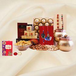 Designer N Pearl Rakhi Set with Chocolates N Dry Fruits Hamper