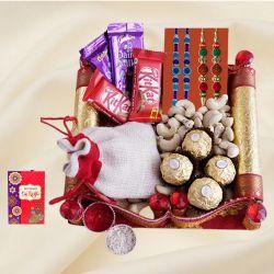 Elegant Bead n Rudraksha Rakhi with Assorted Chocolates n Cashews