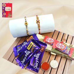 Cool Golden Rakhi Set N Chocolates Assortment in Bamboo Box