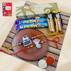 Special Twin Kids Rakhi N Cadbury Assortments in Bamboo Box