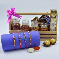 Dazzling Stone Rakhi Set with Flavor Cashews n Imported Chocolates
