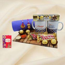 Elegant Zardosi Rakhi Lumba with Bhaiya Bhabhi Coffee Mug N Chocolates