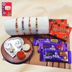 Charming Stone Rakhi Set with Paan Shape Thali n Assorted Chocolates