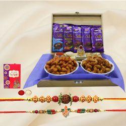 Pious Rakhi Set with Mandap, Flavor Cashews n Cadbbury Chocolates