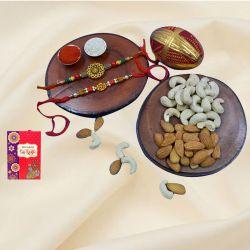 Ethnic Rakhi Pair with Dry Fruits Assortments