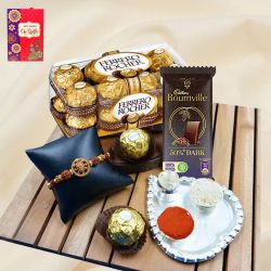 Pious Om Rakhi with Paan Shape Thali n Assorted Chocolates