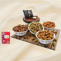 Decorative Pearl Rakhi with Flavored Cashews Assortments