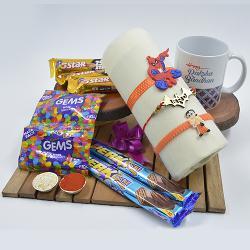 Stylish Kids Rakhi Trio Set with Assorted Chocolates n Coffee Mug