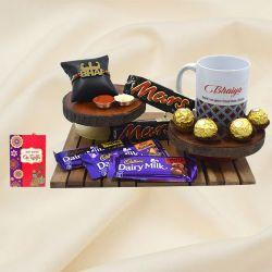 Fancy Strong Bhai Rakhi with Bhaiya Coffee Mug N Assorted Chocolates