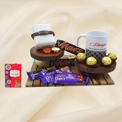 Fancy OM Bracelet Rakhi with Bhaiya Coffee Mug N Chocolate Hamper