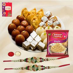 Magnificent Twin Rakhi Set with Assorted Sweets N Snacks