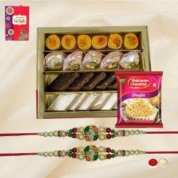 Gorgeous Twin Stone Rakhi Set with Tasty Mithai N Bhujia