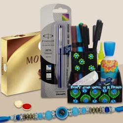 Trendy Dot Mandala Art Pen Stand with Parker Pen, Evils Eye Rakhi n Ferrero Rocher
