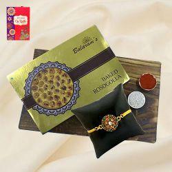 Tasty Baked Rasgulla from Balaram Mullick with Golden Plated Rakhi