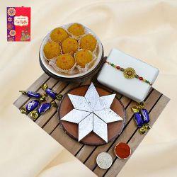 Elegant Om Rakhi with Haldiram Mithai, Chocolate N Puja Thali