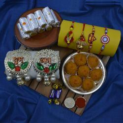 Blissful Family Rakhi Set with Puja Thali N Haldiram Sweets