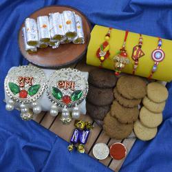 Lovely Family Rakhi Set with Puja Thali, Haldiram Sweets N Cookiemans Cookies