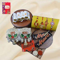 Divine Family Rakhi Set with Haldiram Sweets, Chocolates N Puja Decoration