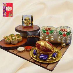 Dazzling Rudraksha Rakhi with Puja Items, Haldiram Sweets N Chocolates