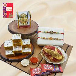 Elegant Swastik Rakhi Pair with Puja Item, Haldiram Sweets N Chocolates