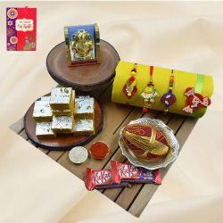 Elegant Family Rakhi Set with Haldiram Sweets, Ganesh Idol N Chocolates