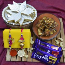 Designer Bhaiya Bhabhi Rakhi with Puja Tray, Haldiram Sweets N Cadbury Chocolates