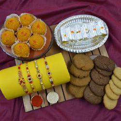 Fancy Stone Rakhi Set of 4 with Haldiram Sweets N Cookiemans Cookies