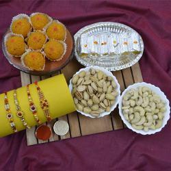 Gorgeous Stone Rakhi Set with Haldiram Sweets N Dry Fruits