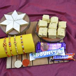 Angelic Stone Rakhi Set of 4 with Haldiram Sweets N Chocolates