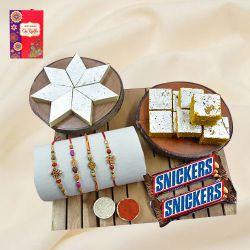 Designer Set of 4 Rakhi with Haldiram Sweets N Chocolate Assortments