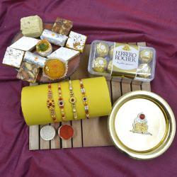 Fancy Stone Rakhi with Haldiram Sweets, Chocolates, Puja Thali N Mandap