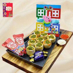 Cool Peppa Pig Kids Rakhi with Haldiram Sweet n Assorted Chocolates