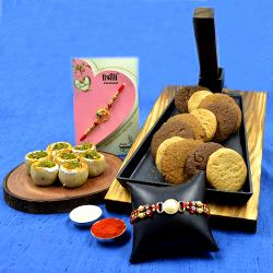 Suave Pearl Rakhi n Stone Rakhi Set with Assorted Cookies n Haldiram Sweet